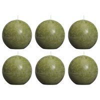 Bolsius Rustikke kulelys 6 stk 80 mm oliven