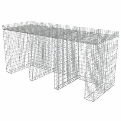 vidaXL Gabion for søppeldunkskur galvanisert stål 270x100x130 cm