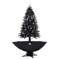 vidaXL Kunstig juletre med snø og paraplyfot svart 190 cm PVC