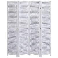 vidaXL Romdeler 4 paneler grå 140x165 cm tre