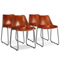 vidaXL Spisestoler 4 stk brun ekte lær
