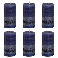 Bolsius Rustikke søylelys 6 stk 130x68 mm mørkeblå