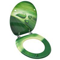 vidaXL WC Toalettsete med lokk MDF grønn vanndråpedesign