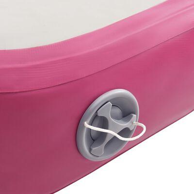 vidaXL Oppblåsbar gymnastikkmatte med pumpe 400x100x20 cm PVC rosa