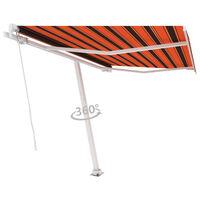 vidaXL Frittstående manuell uttrekkbar markise 350x250 cm oransje/brun