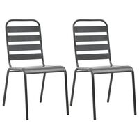 vidaXL Stablestoler 2 stk stål grå