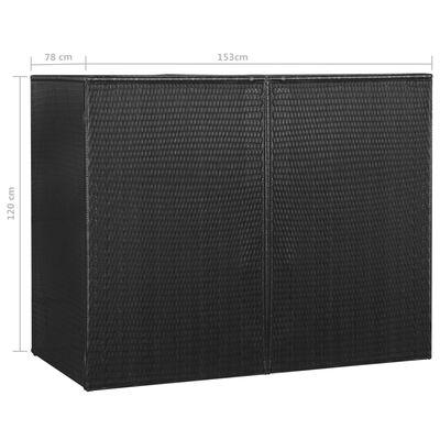 vidaXL Søppeldunkskur dobbel svart 153x78x120 cm polyrotting