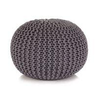 vidaXL Håndstrikket puff bomull 50x35 cm grå