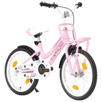 vidaXL Barnesykkel med bagasjebrett foran 18 tommer rosa og svart
