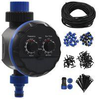vidaXL Utendørs automatisk dryppvanningssett 142 deler med vanntimer