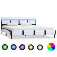vidaXL Sengeramme med LED hvit og svart kunstig skinn 120x190 cm