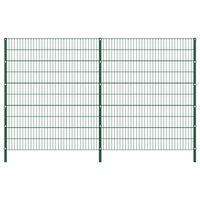 vidaXL Gjerdepanel med stolper jern 3,4x2 m grønn