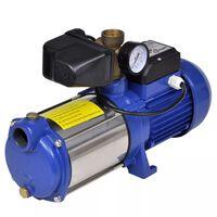 Jet-pumpe med trykkmåler 1300 W 5100 L/t blå