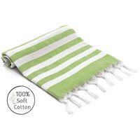 Strandhåndkle bomull 100x180 cm grønn stripete