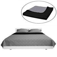 Tosidig vattert sengeteppe svart/grå 230 x 260 cm