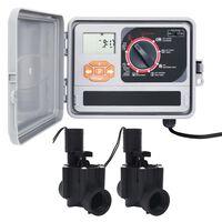 vidaXL Hagevanningsregulator med 2 magnetventiler