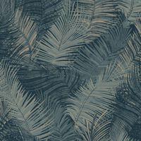 DUTCH WALLCOVERINGS Veggpanel Palm petrolblå