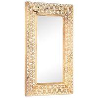 vidaXL Håndskåret speil 80x50x11 cm heltre mango