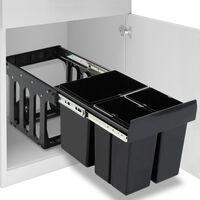 vidaXL Uttrekkbar søppelbøtte til kjøkkenskap myktlukkende 48 L