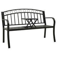 vidaXL Hagebenk med bord 125 cm stål svart