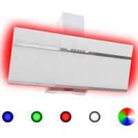vidaXL Vegghengt kjøkkenvifte RGB 90 cm rustfritt stål og herdet glass