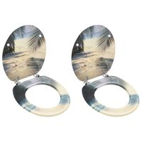vidaXL Toalettseter med lokk 2 stk MDF stranddesign