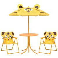 vidaXL Hagegruppe til barn med parasoll 3 deler gul