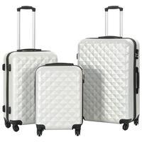 vidaXL Hardplast trillekoffert sett 3 stk lys sølv ABS