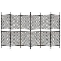 vidaXL Romdeler med 6 paneler polyrotting 360x200 cm brun