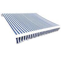 vidaXL Markiseduk 500x300 cm blå og hvit