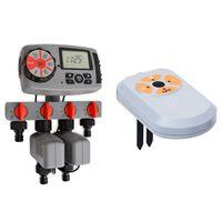vidaXL Digital vanningstimer med 4 stasjoner og fuktighetssensor 3V
