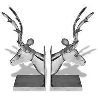 vidaXL Bokstøtter hjort 2 stk aluminium sølv