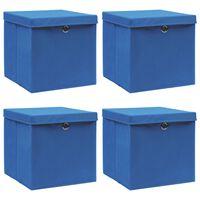 vidaXL Oppbevaringsbokser med lokk 4 stk blå 32x32x32 cm stoff