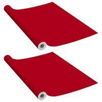 vidaXL Selvklebende møbelfolier 2 stk 500x90 cm PVC rød