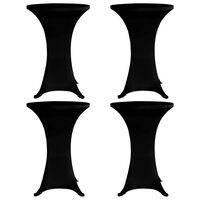 vidaXL Stående bordduk Ø60 cm svart strekk 4 stk