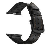 Apple Watch armbånd 38 mm skinn / silikon - svart