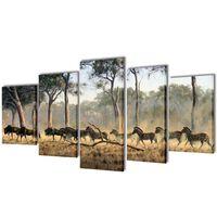 Kanvas Flerdelt Veggdekorasjon Sebra 200 x 100 cm