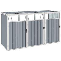 vidaXL Trippelt søppeldunkskur grå 213x81x121 cm stål