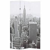 vidaXL Sammenleggbar romdeler 120x170 cm New York dagtid svart og hvit