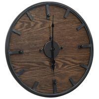 vidaXL Veggklokke brun og svart 45 cm jern og MDF