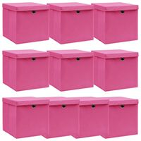 vidaXL Oppbevaringsbokser med lokk 10 stk rosa 32x32x32 cm stoff