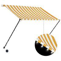 vidaXL Uttrekkbar markise med LED 200x150 cm gul og hvit