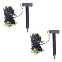 vidaXL Soldrevet LED-lyslenke 2 stk varm hvit