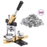 vidaXL Buttonsmaskin 500 buttonsdeler med nål 25 mm roterende stempel