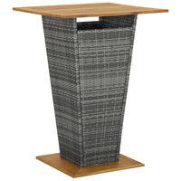 vidaXL Barbord grå 80x80x110 cm polyrotting og heltre akasie