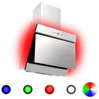 vidaXL Vegghengt kjøkkenvifte RGB 60 cm rustfritt stål og herdet glass
