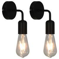 vidaXL Vegglamper 2 stk svart E27
