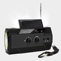 Multifunksjonell overlevelsesradio med solcellepanel og håndsveiv