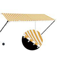vidaXL Uttrekkbar markise med LED 300x150 cm gul og hvit