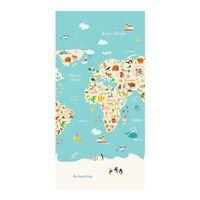 Good Morning Strandhåndkle WORLDMAP 75x150 cm lyseblå